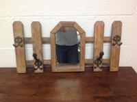 Vintage French Picket Gate Hallway Coat Hat / Rack with Mirror