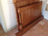 """19th Century French Antique Solid Pitch Pine 4'6"""" 140 Cm Rustic Rural Standard Double Bed (7 of 7)"""