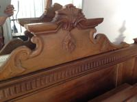 "C19th French Antique Solid 4'6"" 140 Cm Walnut Chateau Bed Amorial  Queen Size Double Queen Bed (2 of 6)"
