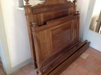 "C19th French Antique Solid 4'6"" 140 Cm Walnut Chateau Bed Amorial  Queen Size Double Queen Bed (5 of 6)"