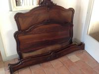 "C19th French Antique Solid 4'6"" 140 Cm Walnut Chateau Bed Amorial  Queen Size Double Queen Bed (6 of 6)"