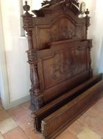 19th Century French Napoleonic Antique Solid  Walnut Chateau Bed ,Armorial King Size Double Bed (6 of 9)