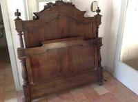 19th Century French Napoleonic Antique Solid  Walnut Chateau Bed ,Armorial King Size Double Bed (8 of 9)