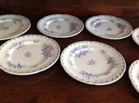 10 Piece Antique 19th Century French Gien Pottery Purple Transfer Printed Dinner Plates Each Piece Stamped (3 of 8)