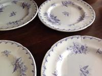 10 Piece Antique 19th Century French Gien Pottery Purple Transfer Printed Dinner Plates Each Piece Stamped (4 of 8)