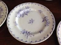 10 Piece Antique 19th Century French Gien Pottery Purple Transfer Printed Dinner Plates Each Piece Stamped (5 of 8)