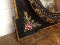 Very Fine Late 19th Century French Oval Wall Mirror Set in Obling Gesso Black Lacquered Frame with Roses to Each Corner (6 of 9)