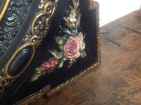 Very Fine Late 19th Century French Oval Wall Mirror Set in Obling Gesso Black Lacquered Frame with Roses to Each Corner (5 of 9)
