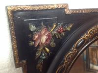 Very Fine Late 19th Century French Oval Wall Mirror Set in Obling Gesso Black Lacquered Frame with Roses to Each Corner (9 of 9)