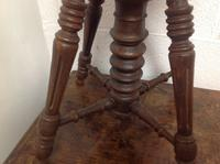 Early 20th Century French Stained Walnut Rotating, Swivel & Adjustable Height Piano Stool c.1930 (5 of 6)
