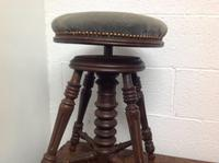 Early 20th Century French Stained Walnut Rotating, Swivel & Adjustable Height Piano Stool c.1930 (4 of 6)