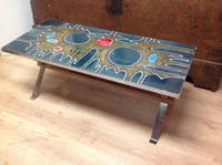 1960s  French Volcanic Tile Coffee Table On Chrome and Teak Supports