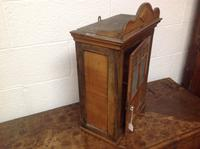 Late 19th Century French Child's Walnut & Cherry Wood Apprentice Piece Armoire / Small Cabinet with Frosted Glass Andy Chevron Inlay (4 of 8)