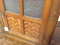 Late 19th Century French Child's Walnut & Cherry Wood Apprentice Piece Armoire / Small Cabinet with Frosted Glass Andy Chevron Inlay (7 of 8)