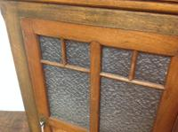 Late 19th Century French Child's Walnut & Cherry Wood Apprentice Piece Armoire / Small Cabinet with Frosted Glass Andy Chevron Inlay (6 of 8)