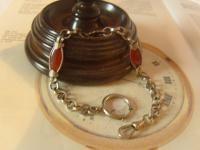 Antique Pocket Watch Chain 1890s Victorian Silver Chrome & Red Glass Fancy Albert (4 of 11)
