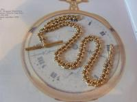 Antique Pocket Watch Chain 1890s Victorian Large Brass Fancy Albert with T Bar (4 of 12)