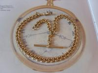 Antique Pocket Watch Chain 1890s Victorian Large Brass Fancy Albert with T Bar (3 of 12)