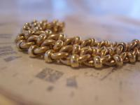 Antique Pocket Watch Chain 1890s Victorian Large Brass Fancy Albert with T Bar (6 of 12)