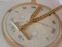 Antique Pocket Watch Chain 1890s Victorian Large Brass Fancy Albert with T Bar (7 of 12)