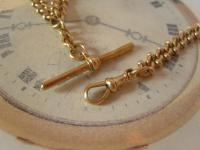 Antique Pocket Watch Chain 1890s Victorian Large Brass Fancy Albert with T Bar (8 of 12)