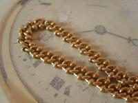 Antique Pocket Watch Chain 1890s Victorian Large Brass Fancy Albert with T Bar (5 of 12)