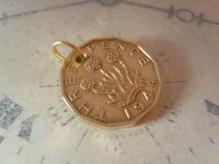 Vintage Pocket Watch Chain Fob 1944 WW2 King George VI Thepenny Bit Coin Fob (4 of 7)