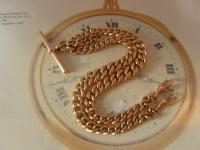 Antique Pocket Watch Chain 1890s Victorian 10ct Rose Gold Filled Large Albert with T Bar 50.9 Grams (2 of 12)