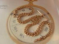 Antique Pocket Watch Chain 1890s Victorian 10ct Rose Gold Filled Large Albert with T Bar 50.9 Grams (4 of 12)
