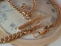 Antique Pocket Watch Chain 1890s Victorian 10ct Rose Gold Filled Large Albert with T Bar 50.9 Grams (8 of 12)