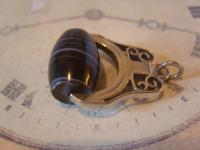 Antique Pocket Watch Chain Fob 1890s Victorian Silver Nickel Large Swivel Fob (4 of 6)