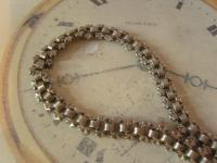 Antique Pocket Watch Chain 1890s Victorian Silver Nickel Vertebrae Link Albert (5 of 11)
