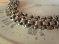 Antique Pocket Watch Chain 1890s Victorian Silver Nickel Vertebrae Link Albert (6 of 11)