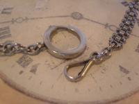 Antique Pocket Watch Chain 1890s Victorian Silver Nickel Vertebrae Link Albert (8 of 11)
