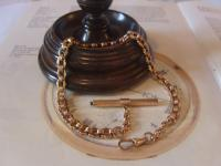 Antique Pocket Watch Chain 1890s Victorian 12ct Rose Gold Filled Large Albert with Key T Bar (2 of 12)