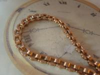 Antique Pocket Watch Chain 1890s Victorian 12ct Rose Gold Filled Large Albert with Key T Bar (5 of 12)