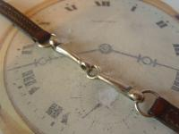 Antique Pocket Watch Chain 1920s Silver Nickel & Leather Albert with Horses Snaffle Bit (5 of 11)