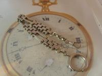 Antique Pocket Watch Chain 1890s Victorian Large Silver Nickel Motorbike Link Albert (5 of 12)