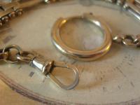 Antique Pocket Watch Chain 1890s Victorian Large Silver Nickel Motorbike Link Albert (9 of 12)