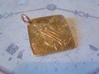 Antique Pocket Watch Chain Fob 1920s Large Gilt Religious the Good Shepherd Fob (3 of 6)