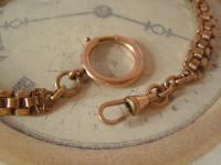 Antique Pocket Watch Chain 1890s Victorian French 14ct Rose Gold Filled Albert (8 of 11)
