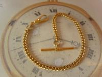 Vintage Pocket Watch Chain 1960s 10ct Gold Plated Curb Link Albert with T Bar (4 of 9)