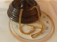 Vintage Pocket Watch Chain 1960s 10ct Gold Plated Curb Link Albert with T Bar (3 of 9)
