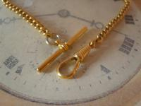 Vintage Pocket Watch Chain 1960s 10ct Gold Plated Curb Link Albert with T Bar (7 of 9)