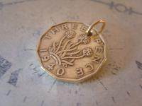 Vintage Pocket Watch Chain Fob 1940 WW2 King George VI Threpenny Bit Coin Fob (3 of 7)