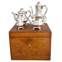 Antique Victorian Sterling Silver 4 Piece Tea Set in Oak Case with Key 1843