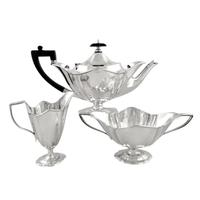 Antique Edwardian Sterling Silver 3 Piece Bachelor Teaset 1905