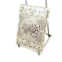 Antique Edwardian Sterling Silver Card Case - Tavern Dancing Scene