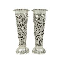 """Pair of Antique Edwardian Sterling Silver 9"""" Spill Vases 1901"""