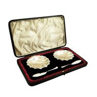 Pair of Antique Victorian Sterling Silver Shell Butter Dishes in Case 1907